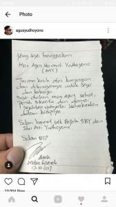Surat ucapan terima kasih Basuki Tjahaja Purnama alias Ahok kepada Agus Harimurti Yudhoyono, putra Presiden Susilo Bambang Yudhoyono, yang mengunjunginya di Tahanan Mako Brimob, Depok, pada Selasa, 17 Oktober 2017. FOTO: Instagram Agus HY