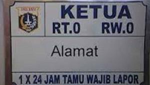 Ilustrasi Papan Nama RT/RW